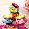 Set of 8 Double Shaded Painted Clay Diyas