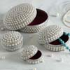 Set of Four Pearl Studded Jewellery Boxes