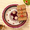 Set of Three Fancy Rakhi with Beautiful Puja Thali