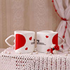 Set of Two Heart-Shaped Love Mugs