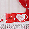 Set of Two Heart-Shaped Love Quoted Mugs