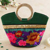Silk Embroidered Handbag With Metal Handle