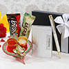 Silver 2 in 1 Personalized Gift Set with Chocolates & Thali