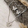 Silver Butterfly Shaped Pendant and Drop Earrings Set