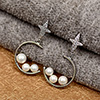 Silver Pearl & Diamond Earrings