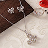 Silver Tone Butterfly CZ Stone Studded Pendant Set with Ring