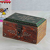 Square Embossed Painted Wooden Box
