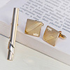 Square Shape Gold Finish Cufflinks With Tie Pin