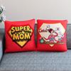 Super Mom Pair of Red Satin Cushion