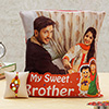 Sweet Brother Personalized Cushion with Mirror Work Rakhi