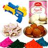 Sweet Hamper with 4 Shades of Holi Gulal and Pichkari
