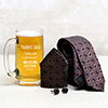 Thanks Dad Personalized Beer Mug with Tie - Cufflink Set