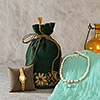 Timex Watch and Pearl Necklace Set with Zari Work Silk Potli