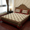 Traditional Bed Sheet in Gray and Maroon