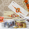 Traditional Rakhi Set with Silver and Gold Coin Chocolate Box - 208 gm Each