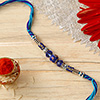 Traditional Rakhi with Blue Beads and Semi Precious Stones