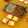 Tray with Pista & Almonds and Diyas