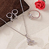 Trendy Ivory White Pendant Set with a Ring