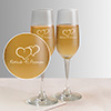Two hearts One soul Personalized set of two champagne glasses