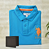 U.S. Polo T-shirt With Black Leather Wallet in a Gift Box