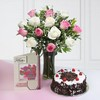 Vase of Mix Roses with Greeting Card & Half Kg Black Forest Cake