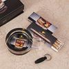 Whiskey Theme Glass Ashtray & Matchbox Set