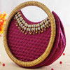 Wine Colored Quilted Silk Handbag With Metal Handle