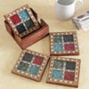 Wooden Coaster Set with Multicoloured Stones