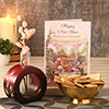 Wooden Flower Vase With Gajak in Brass Bowl & New Year Card