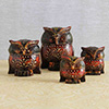 Wooden Painted Owl Family