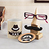 Wooden Spectacles Holder with Mug & Coaster for Father