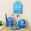 Wooden Tribal Print Key Holder with Desk Accessories
