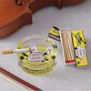 Yellow Printed Glass Ashtray & Matchbox Set