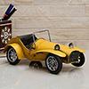 Yellow Vintage Roadster Racing Alloy Metal MotorCar Collectible