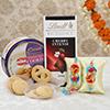 Zardozi Bhaiya-Bhabhi Rakhi with Danish Cookies and Lindt Cherry Intense