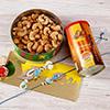 Zardozi Work Bhaiya Bhabhi Rakhi Set with Almonds and Cashews